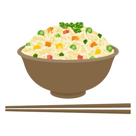 Riz frit dans un bol avec des baguettes, design plat