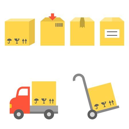handtruck: Vector shipping and handtruck icons set, flat design