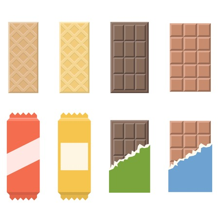 cereal bar: Vector chocolate and wafer icon, flat design Illustration