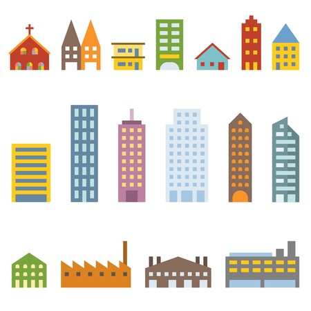 city buildings: Vector building icons set, flat design