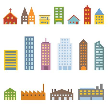 buildings city: Vector building icons set, flat design
