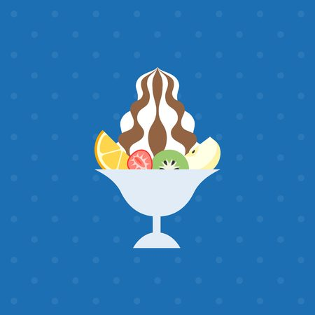 soft serve: ice dessert and tropical fruit illustration, soft serve icon, ice cream with fruit in glass, flat design