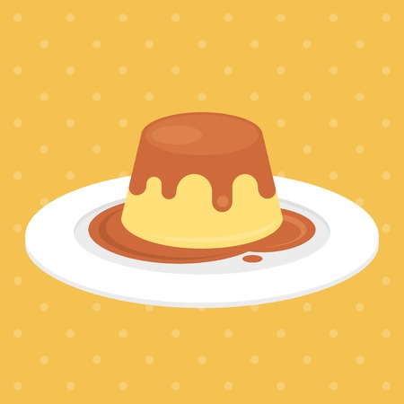 pudding or custard with caramel in plate illustration, flat design  イラスト・ベクター素材