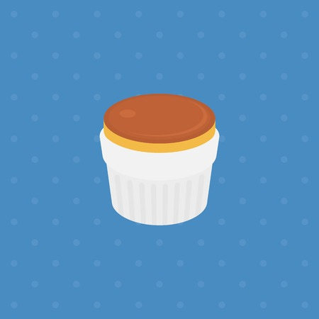 sweet sauce: pudding or custard with caramel in plate illustration , flat design Illustration