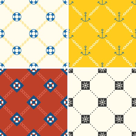 rin: navy and nautical pattern theme, seamless pattern and background set 4 Illustration