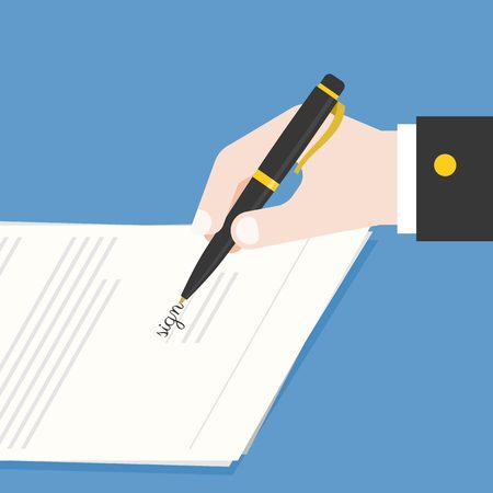 signing document: Business hand holding ink pen signing contract, document or offer agreement, flat design vector illustration