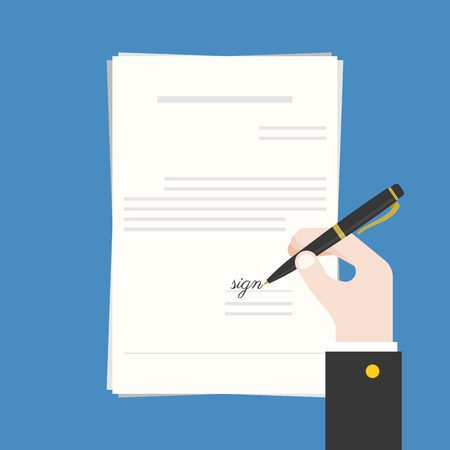 signing contract: Business hand holding ink pen signing contract, document or offer agreement, flat design vector illustration