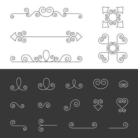 Vector Reihe von Symmetrie verzierten kalligraphisches Vintage-Elemente