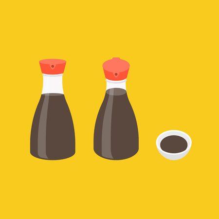 soy sauce: Vector soy sauce bottle icons set, flat design Illustration