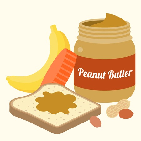 bread and butter: Vector peanut butter, bread, peanuts and banana, flat design