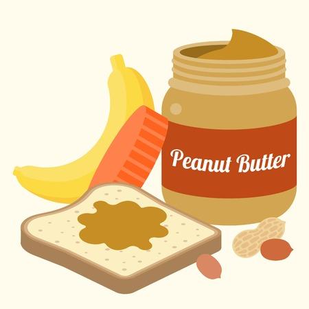 Vector pindakaas, brood, pinda's en bananen, plat ontwerp