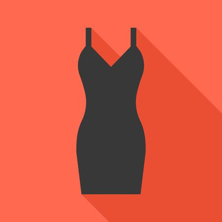 sexy black dress: Vector sexy black dress icon with long shadow, flat design