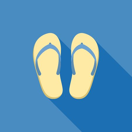 Sandal illustration. Symbol of beach, sea, holiday and travel for summer icon, flat design with long shadow