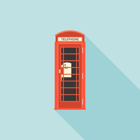 red telephone box: Red telephone box of London, flat design with long shadow