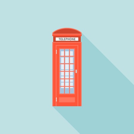 telephone box: Red telephone box of London, flat design with long shadow