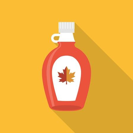 sap: Maple syrup bottle icon, flat design Illustration