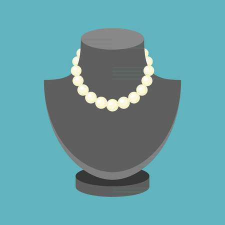 pearl necklace: Vector pearl necklace, flat design