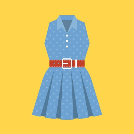 up skirt: vector retro polka dot woman dress, flat design