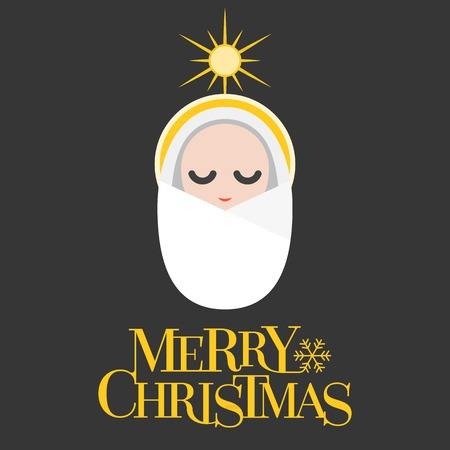 good shepherd: Vector merry christmas, flat design