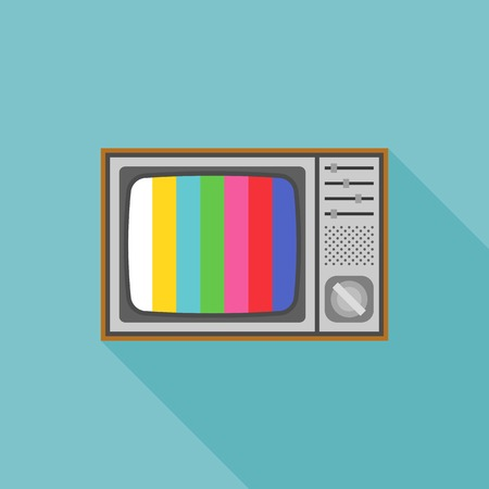 vintage television: vintage television illustration and TV test pattern screen, flat design icon