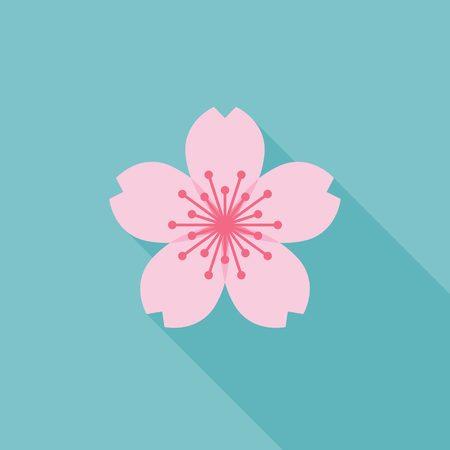 sakura vector icon, flat design Vettoriali