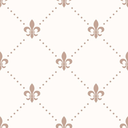 lys: fleur de lis sign and dot, seamless pattern