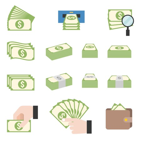 money pile: pile of cash, money stacks, flat design