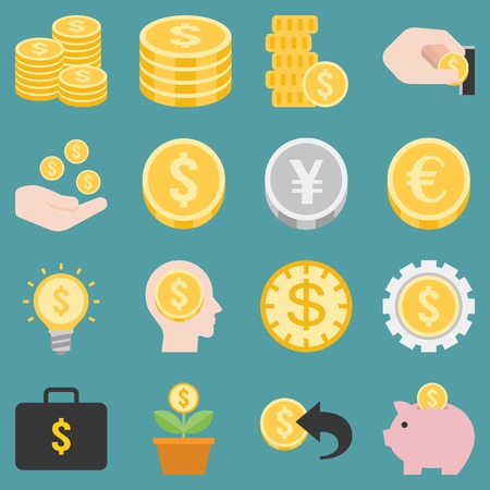 money and coins icons set, flat design