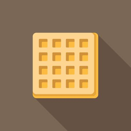 friends eating: Vector waffle with long shadow, flat design Illustration