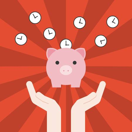 depositing: Vector save time concept hand,clock with pig banking with sun burst background, flat design