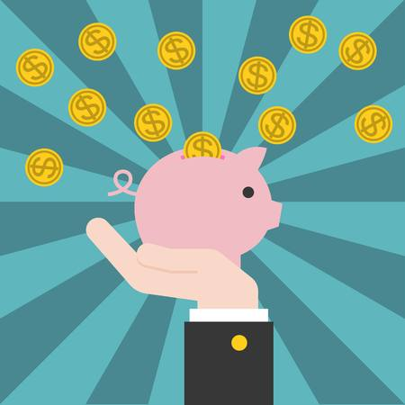 depositing: Vector hand holding piggy bank with coins, cash back concept with sunburst background, flat design