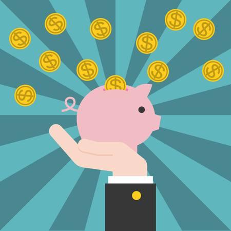 cash back: Vector hand holding piggy bank with coins, cash back concept with sunburst background, flat design