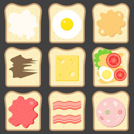 spreads: Vector sliced bread with bread spreads