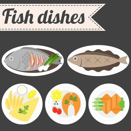 tartar: Vector Fish Dishes