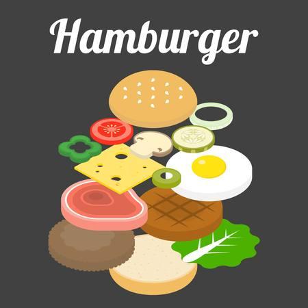 벡터 햄버거 재료