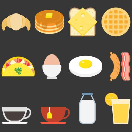 boiled eggs: Food icons, breakfast Illustration
