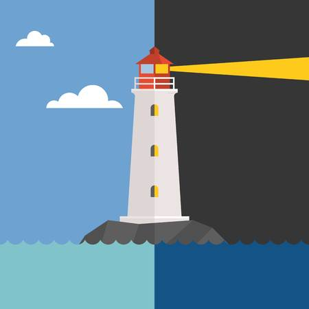 lighthouse at night: Vector lighthouse in day and night