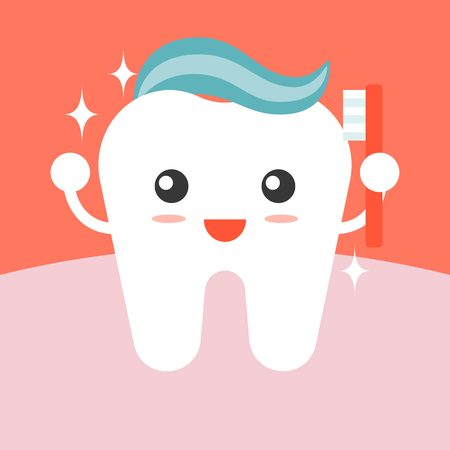 tooth cleaning: tooth cleaning itself with toothpaste flat design Illustration
