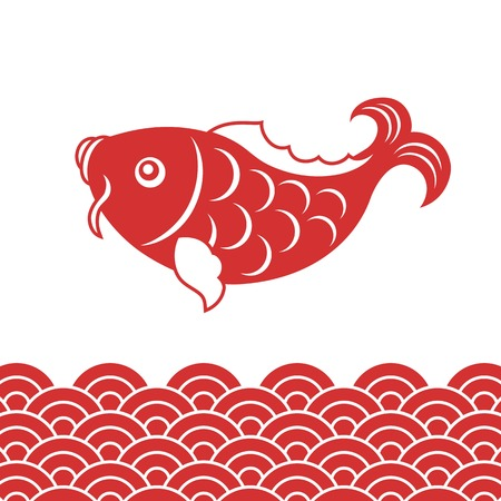 carp fish: carp fish and wave for Chinese new year