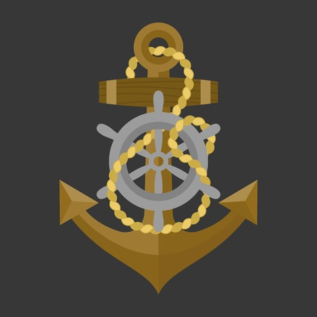 helm: anchor with rope and helm icon, flat design