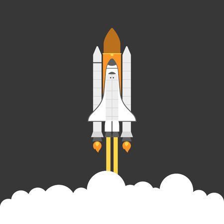 shuttle: space shuttle, flat design Illustration
