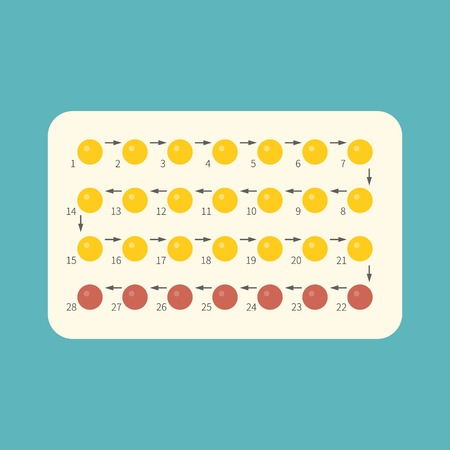 birth control: Strip of 28 Contraceptive Pill with English Instructions, flat design