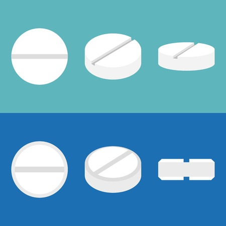 pill icons set, flat design