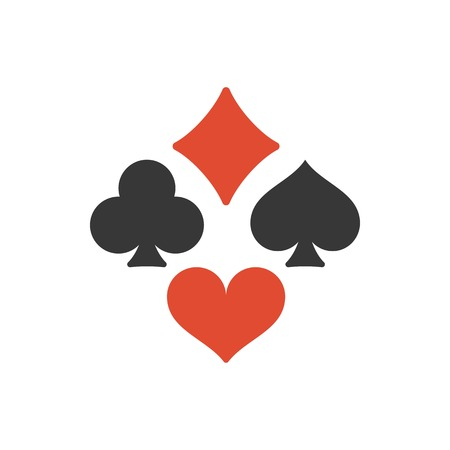 clubs diamonds: Vector Four playing cards suits symbols, spades, hearts, clubs and diamonds