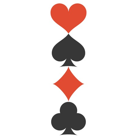 Vertical Vector Four playing cards suits symbols, spades, hearts, clubs and diamonds Illustration