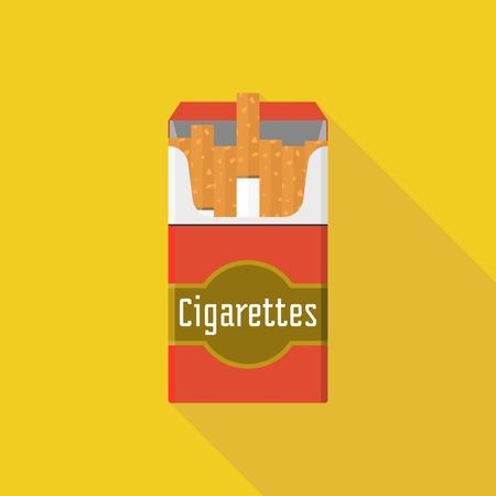 cigarette pack: Vintage open cigarette pack illustration vector, flat design