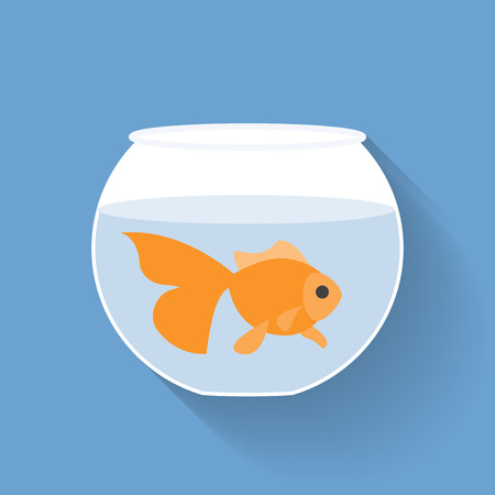 Gold fish in bowl, flat design with long shadow Illustration