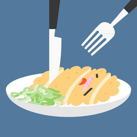 Vector Funny Cartoon Japanese Food, Fillet pork flat design