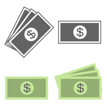 dollar icon: Vector money icon, dollar bill, flat design