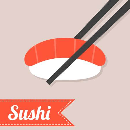 chopstick: Vector sushi with chopstick Illustration